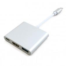 Адаптер Extradigital USB Type-C to HDMI/USB 3.0/Type-C (0.15m)
